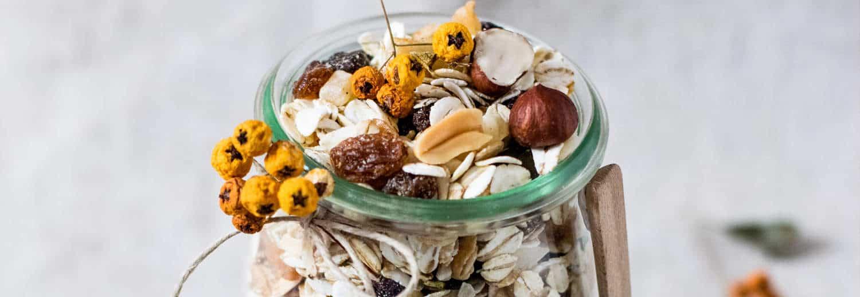 colazione con avena in fiocchi con frutta secca in vasetto di vetro