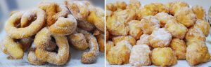 Zeppole sarde piccole alla crema e lunghe tipo frittura araba